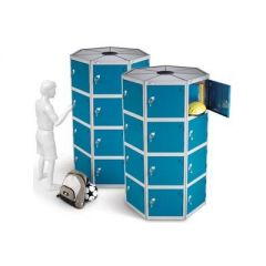 Round Pod Lockers with Four Compartments