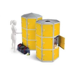 Round Pod Lockers with Three Compartments