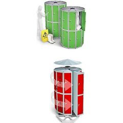 Round Pod Lockers with Two Compartments