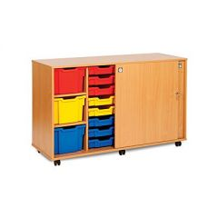 Sliding Door Tray Storage Cupboard with 22 Trays