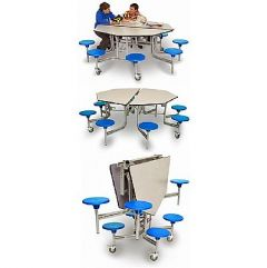 Octagonal Mobile Folding School Table and Seating