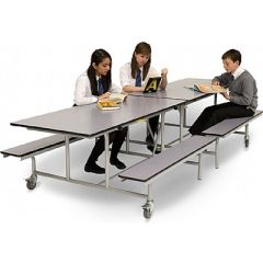 Rectangular Mobile Folding School Table and Benches