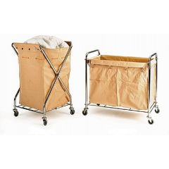 150 kgs Chrome Plated Laundry Trolleys with Removable Canvas Sack