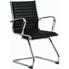 Black Faux Leather Cantilever Visitors Chair