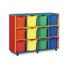 12 Jumbo Tray Monarch Colourful Tray Storage Unit - Mobile