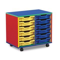 12 Shallow Tray Monarch Colourful Tray Storage Unit - mobile (2 x 6)