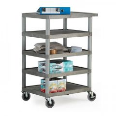 120 kg Capacity Grey Plastic Shelf Trolleys