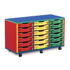 18 Shallow Tray Monarch Colourful Tray Storage Unit - mobile (3 x 6)