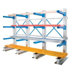 Cantilever Arm Storage Racking - Single Sided with 2x Extensions - Loaded