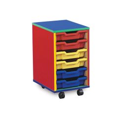 6 Shallow Tray Monarch Colourful Tray Storage Unit - mobile