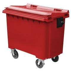 4 Wheeled Flat Top Wheelie Bin - 660 Litre