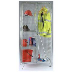 Wire mesh janitors utility cupboard