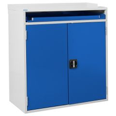 Double Door Computer Workstation - with Keyboard Holder - Blue