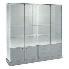 Extra Wide Glass Display Cabinets with Lower Cupboard