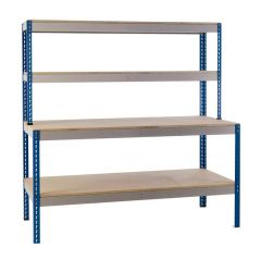 General Purpose Workstation with Lower Shelf - Blue Uprights