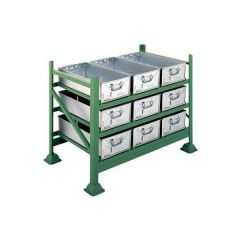 Stacking Pallet Racks with tote pans or vista bins