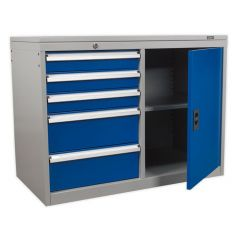 Industrial Cabinet - 5 Drawers & Cupboard