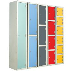 Laminate Door Lockers suitable for Dry Areas available in multiple configurations and colour options.