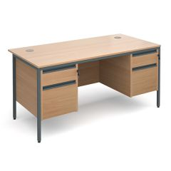 Atlanta H Leg Desk with 2 and 2 Drawer Pedestals - 24 Hour Delivery