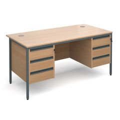 Atlanta H Leg Desk with 3 and 3 Drawer Pedestals - 24 Hour Delivery