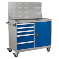 Mobile Industrial Workstation - 5 Drawers & Cupboard