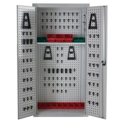 Open View - Light Grey Perforated Tool Cupboard