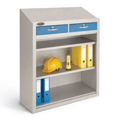 Probe Open Fronted Workstation - Silver - 2 Lockable Drawers