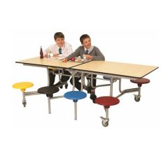 8 Seat Mobile Folding Rectangular School Table Seating Unit