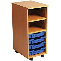 Single Bay Mobile Art Storage Combi Unit with 4 Trays
