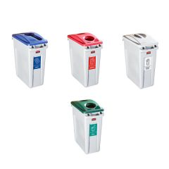 Rubbermaid Slim Jim Recycling Kit - Plastic, Glass, Paper & General Waste