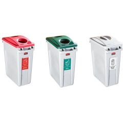 Rubbermaid Slim Jim Recycling Kit - Plastic, Glass and General Waste