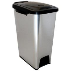 Slim Metal Look Pedal Bin - 17 Litre
