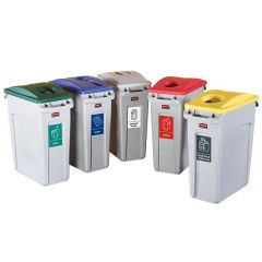 Rubbermaid Recycling Bin Kit - Plastic, Glass, Paper, Food/Drink Cans & General Waste
