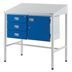Sloping Top Team Leader Workstations-3 Drawers + Cupboard