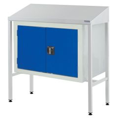 Sloping Top Team Leader Workstations - Double Cupboard