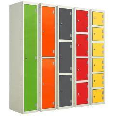 Wet area Laminate Lockers - Vibrant Green, Clementine, Graphite Grey, Spectrum Red, Spectrum Yellow