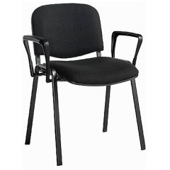 Taurus Fabric Stacking Chairs with Arms - Black Frame - Charcoal Fabric