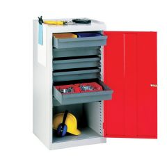 red tool drawer cupboard with 2 adjustable shelves