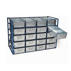High Density Tote Pan Stacking Racks complete with tote pans