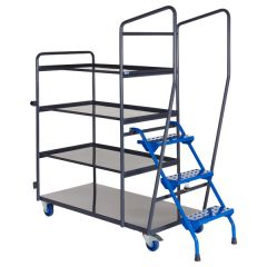 Fully Welded Order Picking Trolley - 4 Shelf