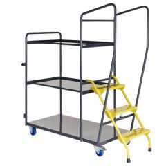Fully Welded Order Picking Trolley - 3 Shelf