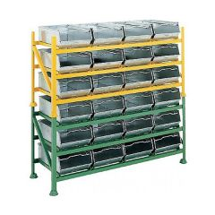 Stackable Vista Bin Racks with 12 galvanised vista bins