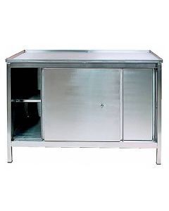 Stainless Steel Sliding Door Cupboard with Legs and Deep Top