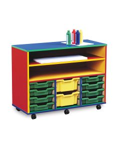 12 Shallow Tray Monarch Colourful Tray Storage Unit - Mobile