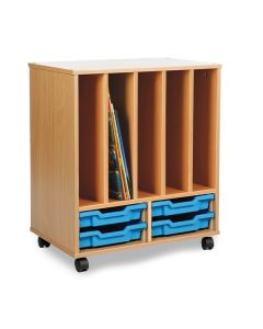 Multi Storage Unit - 4 Shallow Drawer Unit with Racking