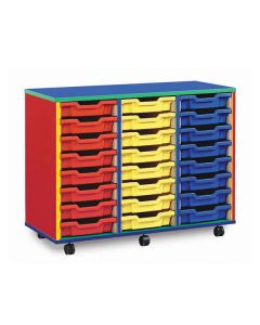 24 Shallow Tray Monarch Colourful Tray Storage Unit - mobile (3 x 8)