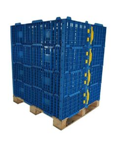 Collapsible Plastic Pallet Collars - Blue