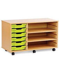6 Shallow Tray Mobile Shelving Unit - 1030mm Wide