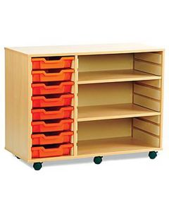 8 Shallow Tray Mobile Shelving Unit - 1030mm Wide