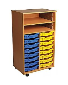 Double Bay Mobile Art Storage Unit with 16 Trays
